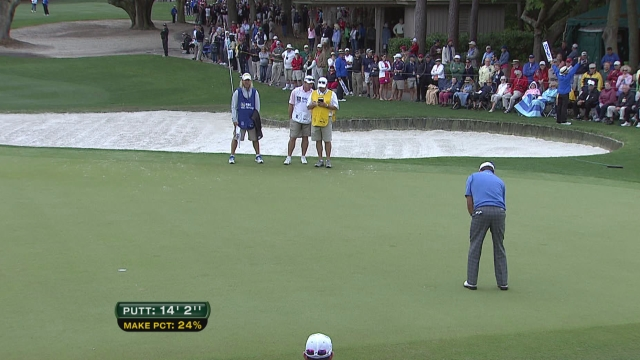 "Graham McDowell with a 14'2"" putt at the 2013 RBS Heritage. Note the ""Make Pct 24%"". Screengrab courtesy PGA Tour."